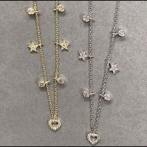 Heart &Stars Choker Necklace,Sterling Silver,NWT